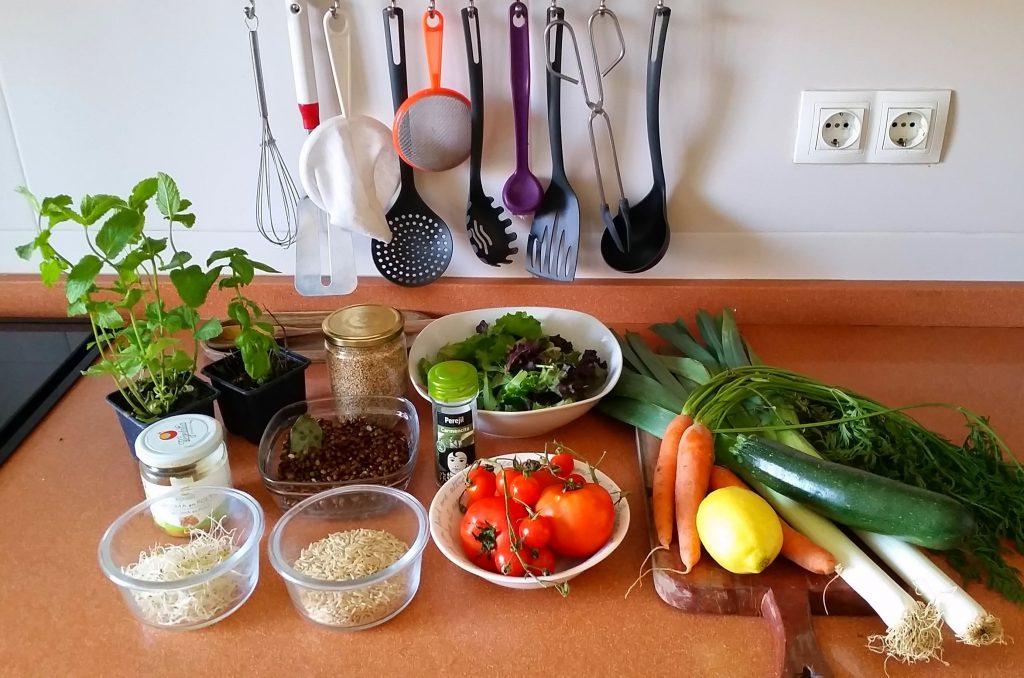 Ingredientes para ensalada de lentejas